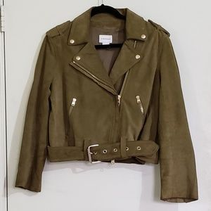 Club Monaco Green Suede Moto Jacket (M)